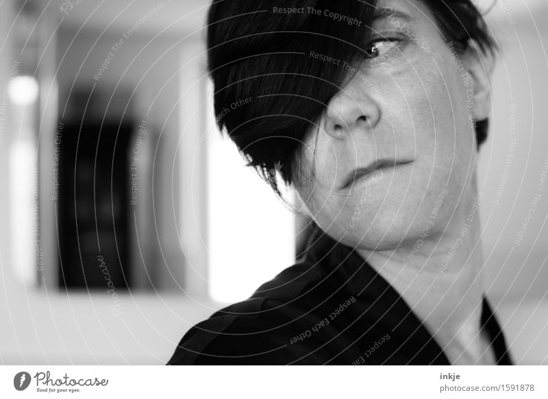 Remix one-eyed portrait Style Woman Adults Life Hair and hairstyles Face 1 Human being Looking Exceptional Rotate Posture Part Bangs Black & white photo