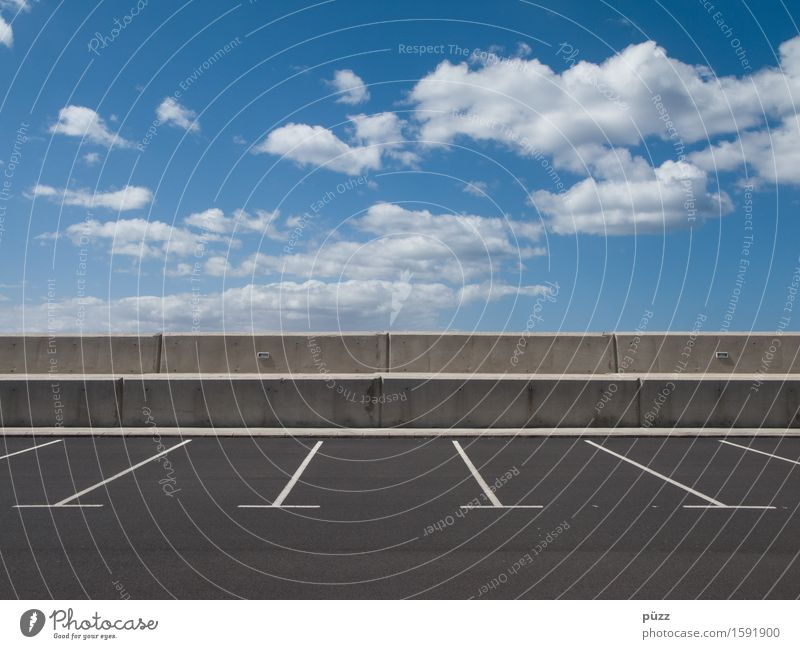 parking space Sky Clouds Beautiful weather Deserted Transport Traffic infrastructure Road traffic Motoring Street Stone Concrete Blue Gray White Horizon