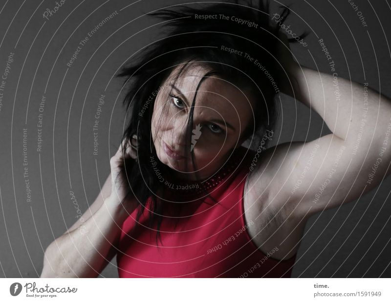 narula Feminine 1 Human being T-shirt Hair and hairstyles Black-haired Long-haired Observe Think To hold on Looking Wait Dark Rebellious Wild Red Emotions