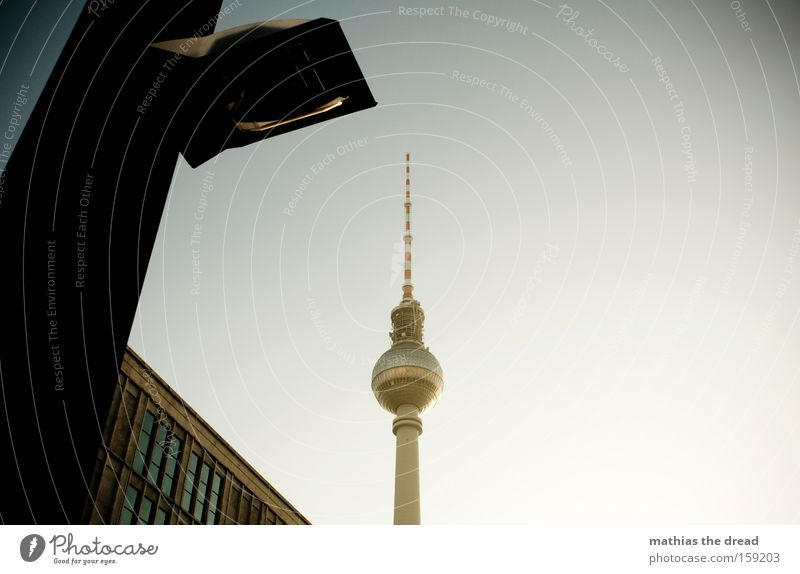 Beautiful Sky Blue City Berlin Cable Tower Trust Sphere Idyll Lantern Monument Steel cable Landmark Berlin TV Tower Nerviness