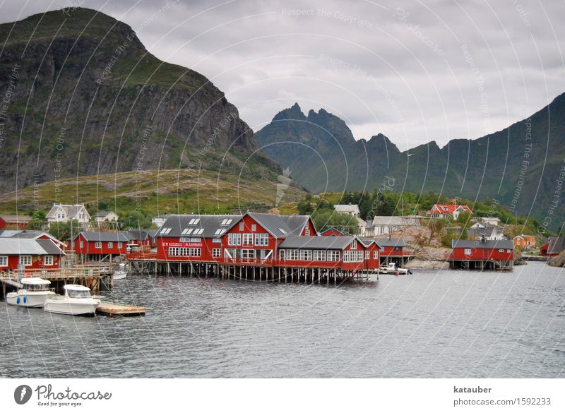 a town called A Landscape Clouds Bad weather Hill Mountain Coast Fjord Norway Europe Fishing village Deserted Hut Tourist Attraction Famousness Cute Gloomy Red