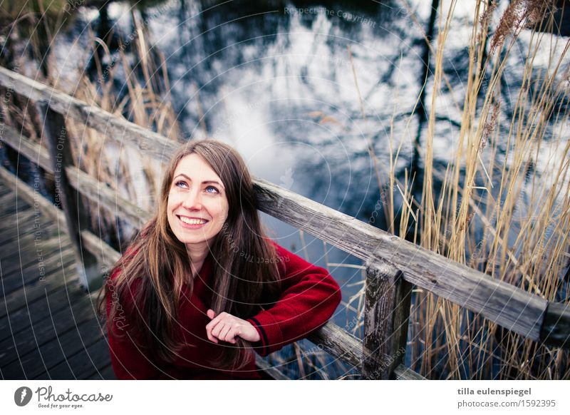 . Contentment Winter Feminine Young woman Youth (Young adults) Woman Adults 1 Human being 18 - 30 years Environment Nature Autumn Grass Bushes Park Lakeside
