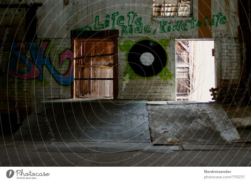half pipe Colour photo Multicoloured Interior shot Deserted Copy Space bottom Light Shadow Contrast Lifestyle Joy Leisure and hobbies Playing Subculture