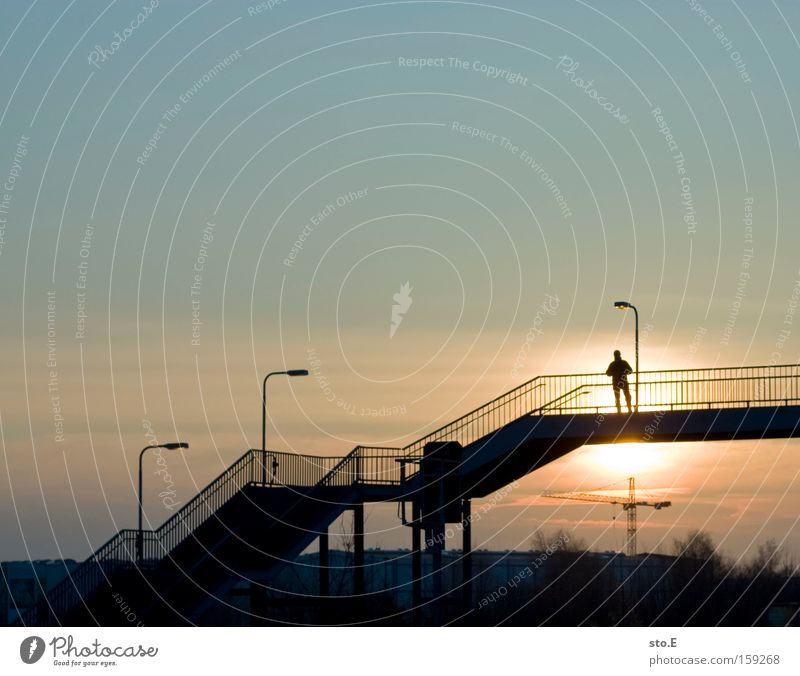 birch stone Train station Stairs Silhouette Sunset Bridge Railroad crossing Street crossing Middle Lantern Sky Far-off places Human being Handrail Banister