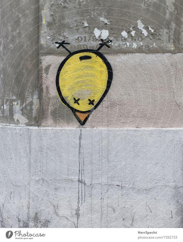 Strange bird Wall (barrier) Wall (building) Graffiti Funny Round Trashy Town Yellow Gray Street art Bird Chick Spit Beak Head first Art Exceptional Subculture