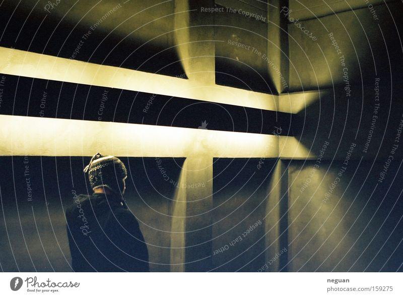 strange guy Light Indirect light Concrete Human being Cap Lamp Moody Mood lighting Emotions Living room interior queer Room