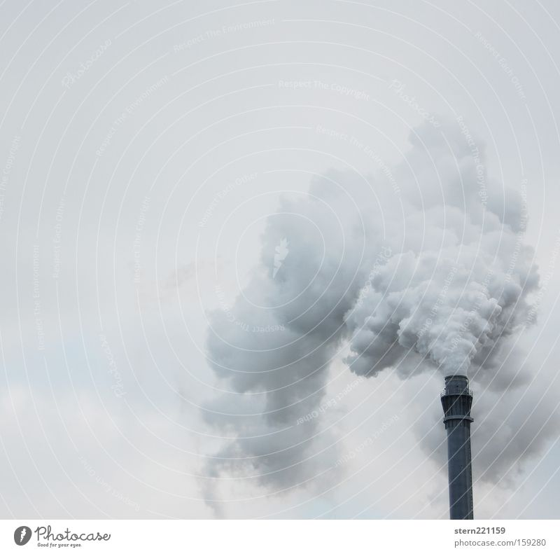 Sky White Clouds Black Environment Gray Gloomy Industry Factory Smoke Exhaust gas Chimney Burn Dreary Environmental pollution Poison