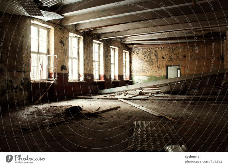 decay Window Room Location Loneliness Decline Vacancy Light Transience Time Life Memory Ceiling Destruction Old Military building Hall Derelict Obscure venues