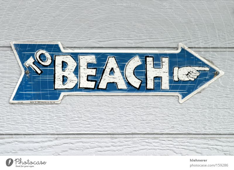 To Beach White Blue Summer Lanes & trails Information Arrow Sign Signs and labeling Direction Signage Text Communication Recreated
