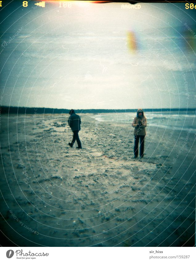 Human being Winter Beach Cold Coast Wind Baltic Sea Double exposure Masked Prerow Lomography