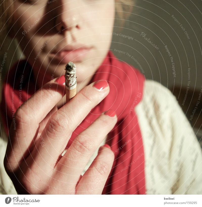 it kills you Smoking Tobacco products Cigarette Scarf Illness Woman Unhealthy Gray Pallid Smoke Red Nail Dangerous