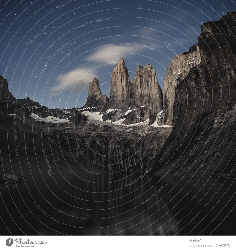 Torres del Paine Clouds Night sky Stars Mountain Peak Lake Torrs del Paine Gigantic Tall Above Loneliness Uniqueness Nature Pure Calm Deserted Copy Space bottom