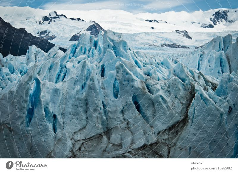 ice age Mountain Snowcapped peak Glacier Freeze Sharp-edged Cold Blue White Bizarre Transience Change Perito Moreno Glacier Steep Exterior shot