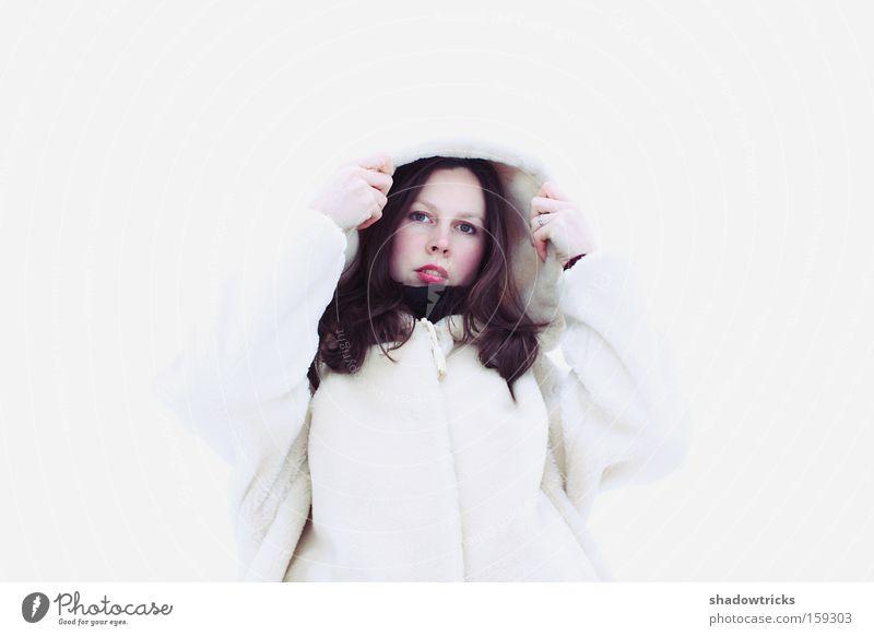 Woman Human being Beautiful White Winter Snow Portrait photograph Respect Amazed Arrogant Marvel