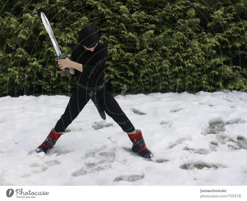 Down with winter Boy (child) Child Ninja Carnival costume Fight Martial arts Snow Sword Conquer Winter Disguised Exterior shot Youth (Young adults)