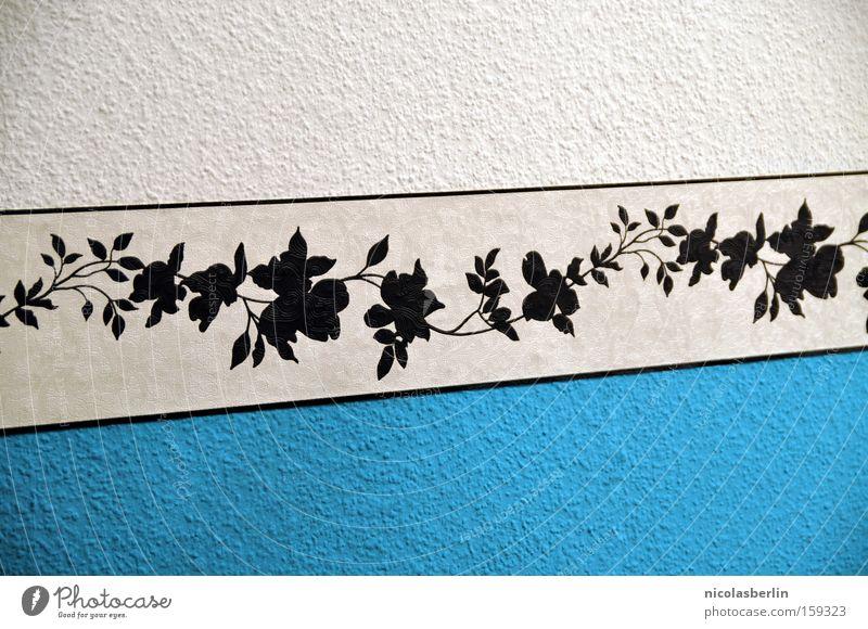 Beautiful White Flower Blue Leaf Black Wall (building) Room Art Design Arrangement Pattern Decoration Stripe Wallpaper Furniture