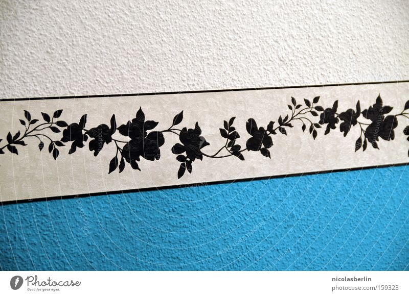 White to Blue Border Black Furniture Design Wall (building) Wallpaper Decoration Cozy Flower Pattern Stripe Art Arts and crafts  Detail Beautiful wall design