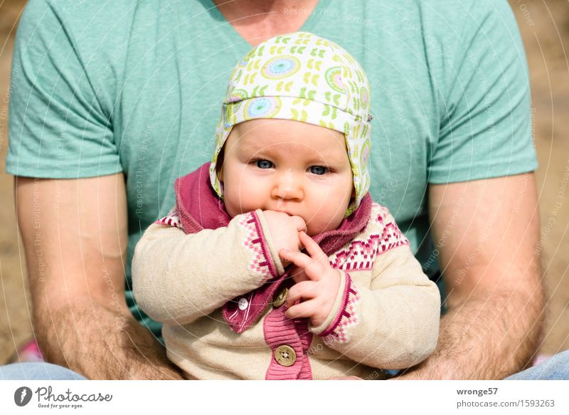Father with child Human being Masculine Feminine Child Baby girl Man Adults Family & Relations 2 0 - 12 months 30 - 45 years spring Beautiful weather Small