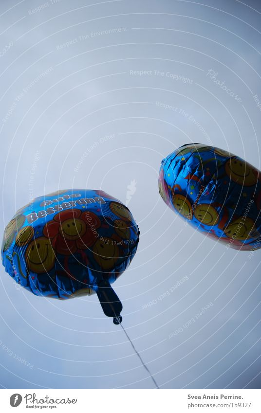 Get well soon Balloon Sky Dark Smiley Flying Flower 2 Unprocessed Well-being Feeble Aviation