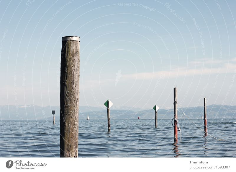 Full of posts. Vacation & Travel Summer Elements Water Sky Beautiful weather Lake Lake Constance Inland navigation Pole Covers (Construction) Sign