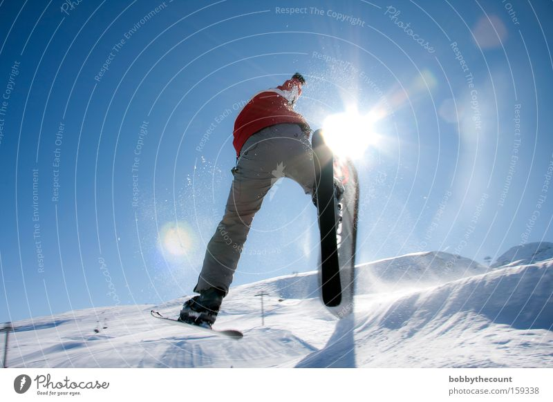 the harder you try... 360° Skiing Jump Rotation Corner Back-light Sun Winter Snow Winter sports Freestyle Effort Joy Wide angle France snowball right angle