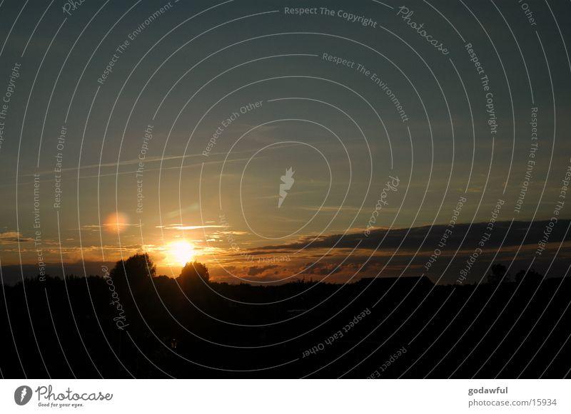 Sky Sun Clouds Dusk Lens flare
