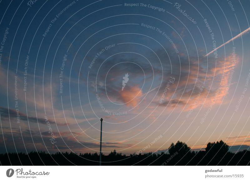 evening sky 1 Flagpole Clouds Sunset Vapor trail Evening Dusk Sky