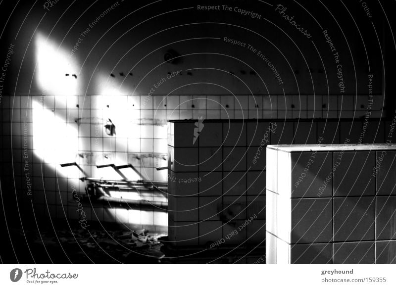 wall diamonds Tile Light Dark Bathroom Installations Loneliness Patch Patch of light Shaft of light Derelict Black & white photo