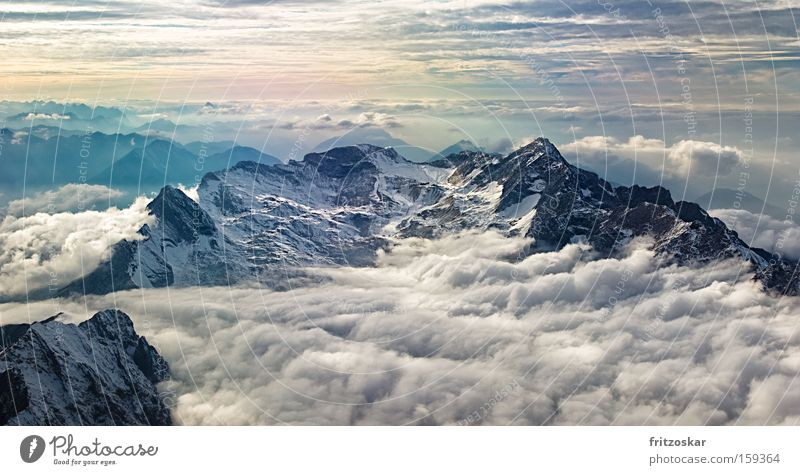 Clouds Snow Mountain Weather Peak Wettersteingebirge Carpet Dramatic Shift work Cable car Zugspitze