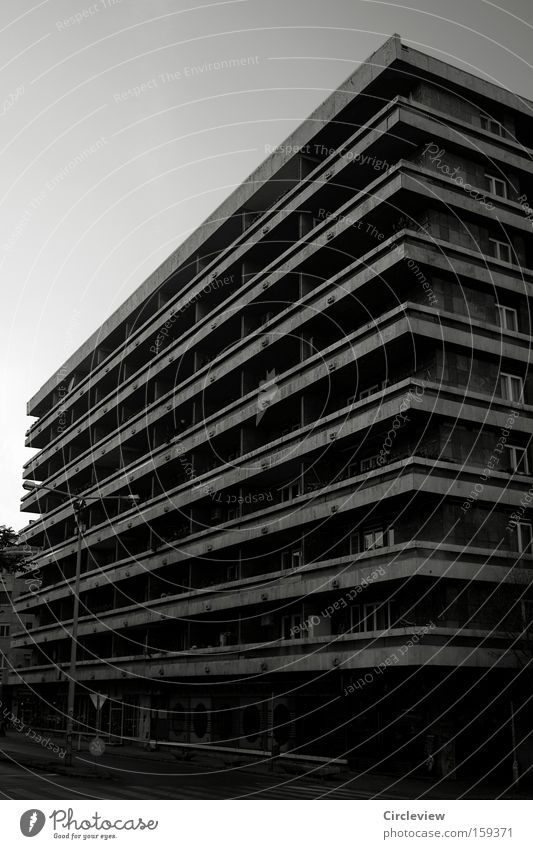 cross-striped makes thick House (Residential Structure) New building Budapest Balcony Loneliness Underexposed High-rise Habitat Living or residing Life Town