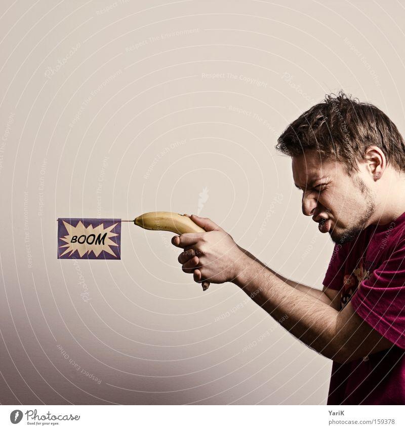 Man Hand Funny Arm Fruit Philosophy Weapon Handgun Warped Banana Shot Shoot Moral Shoot dead