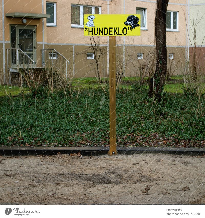 Dog-Station Marzahn-Hellersdorf Outskirts House (Residential Structure) Facade Traffic infrastructure Wood Plastic Sign Characters Signs and labeling Signage