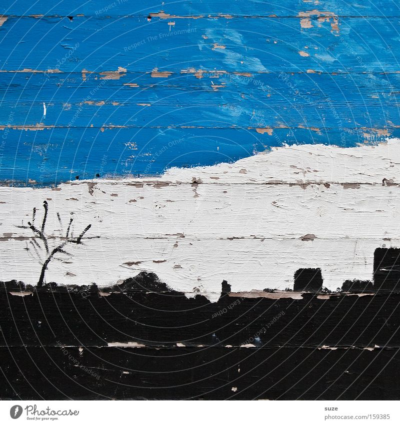 Blue Old White Tree Clouds Black Wall (building) Wall (barrier) Wood Line Background picture Facade Lifestyle Gloomy Design Decoration