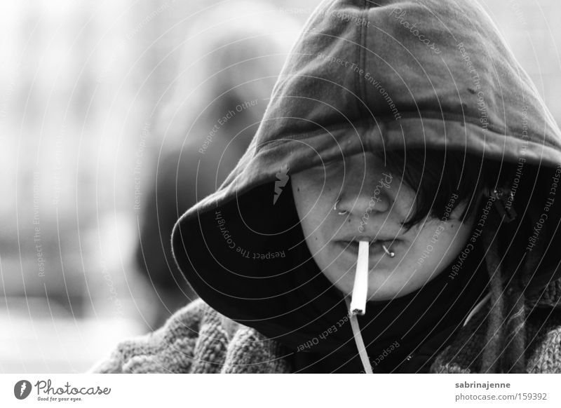 Human being White Winter Black Street Cigarette