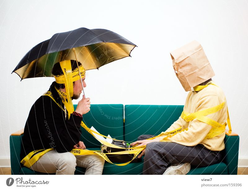 Man Joy Adults To talk Sit Happiness Communicate Joie de vivre (Vitality) Contact Stop Concentrate Umbrella Humor Sofa Snapshot Whimsical