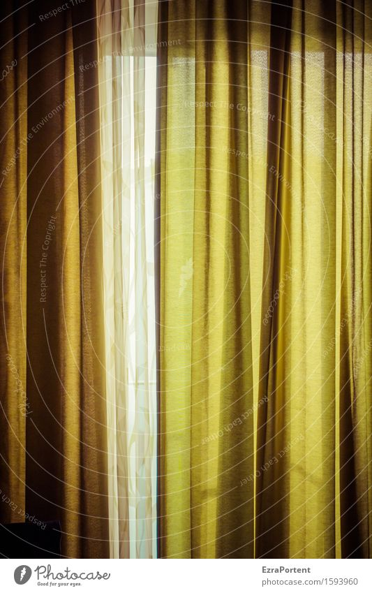 Curtain up - 700 - Curtain closed Living or residing Flat (apartment) Interior design Decoration Window Green Drape Protection Colour photo Interior shot