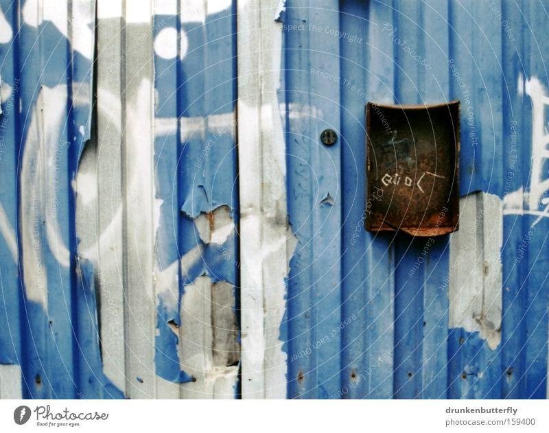 Old Blue Colour Gray Brown Metal Broken Castle Gate Derelict Past Rust Iron Garage Mailbox Flake off