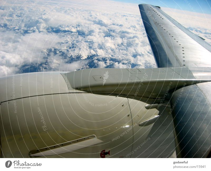 turbine Airplane Engines Clouds Aviation Alps Wing Sky