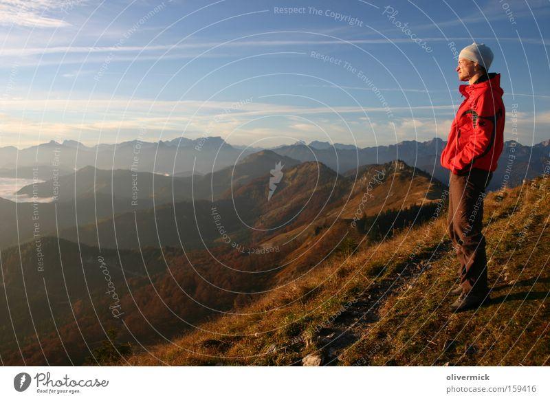 View into the distance Joy Sunrise Mountain Alps Mountaineer Hiking Dawn Emotions Happy Peak Hope Power Energy distributor Colour almkogel Embellish