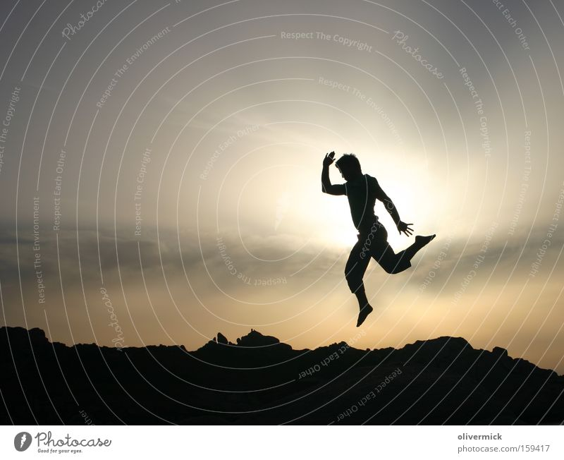 Light and shadow Back-light Sun Jump Joy Happy Vacation & Travel Sardinia Roof leap in happiness
