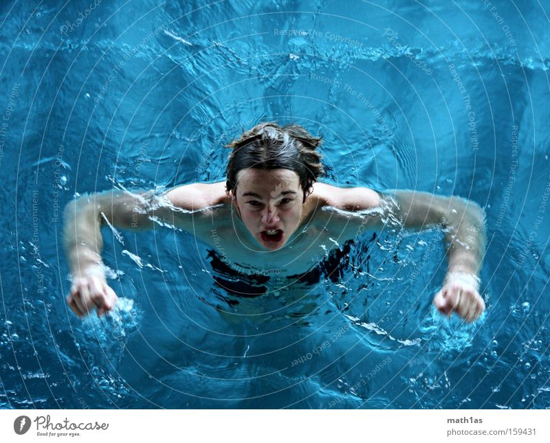 Water Blue Gray Head Waves Swimming pool Anger Turquoise Evil Musculature Aggravation Devil Underwear