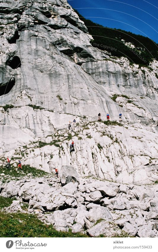 mountain Sky Man Blue Green Sun Summer Mountain Germany Rock Walking Climbing Strong Mountaineering Heat Apprentice