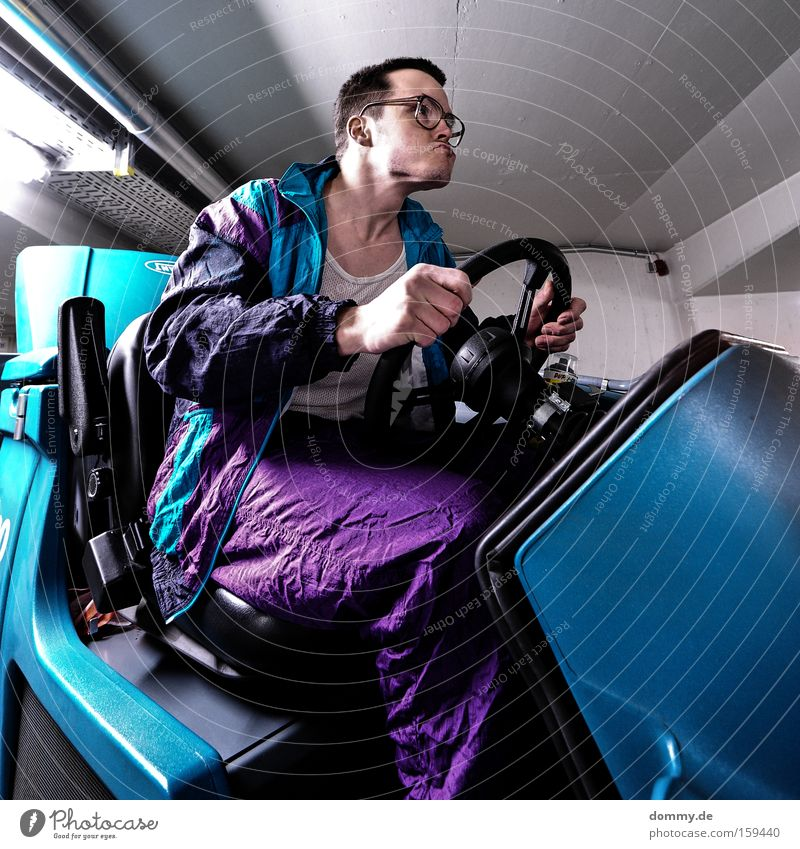 racing kalle Man Driving Vehicle Eyeglasses Petit bourgeois Steering wheel Movement tracksuit horn-rimmed glasses Track-suit top Only one man Mid adult man