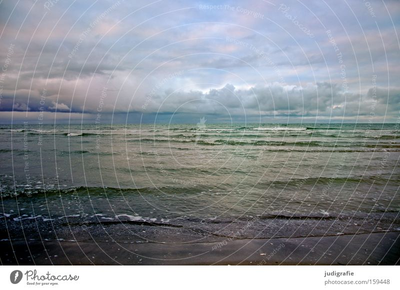 Water Sky Ocean Beach Clouds Far-off places Colour Cold Relaxation Waves Coast Longing Baltic Sea Darss