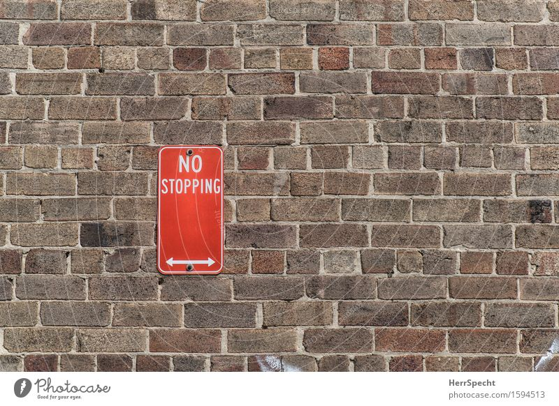 continuation zone Sydney New South Wales Wall (barrier) Wall (building) Road traffic Street Road sign Sharp-edged Town Brown Red No standing Bans