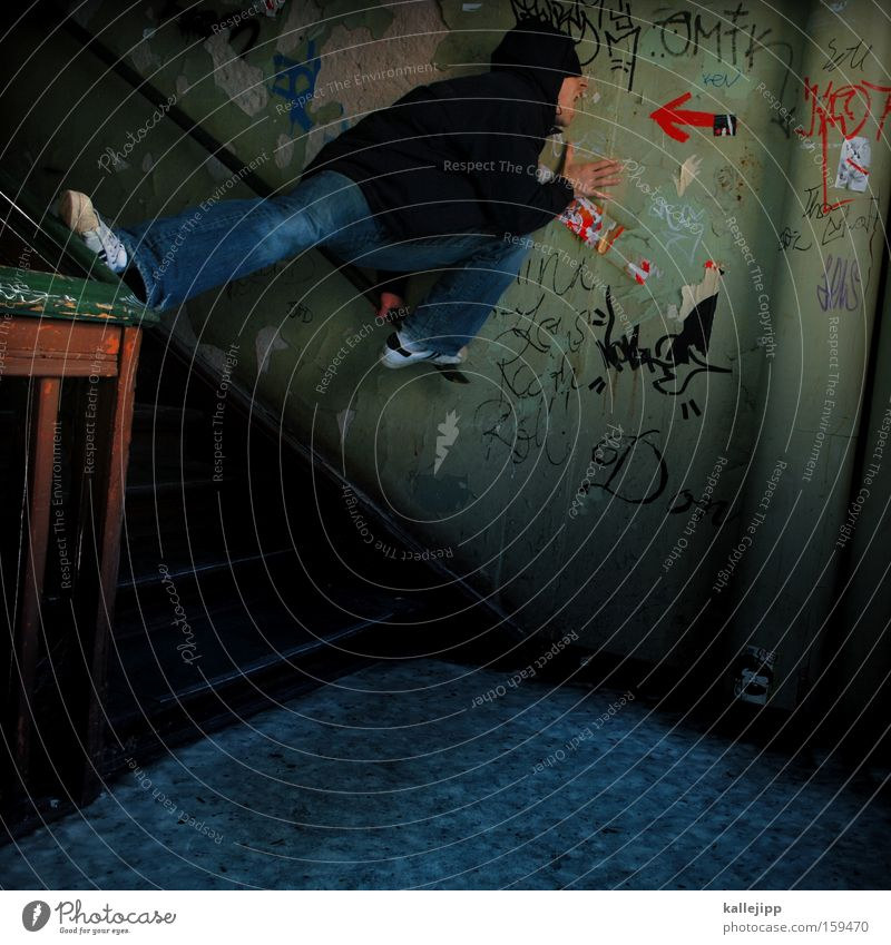 Human being Man House (Residential Structure) To talk Graffiti Stairs Crazy Target Arrow Scream Direction Loud Marketing