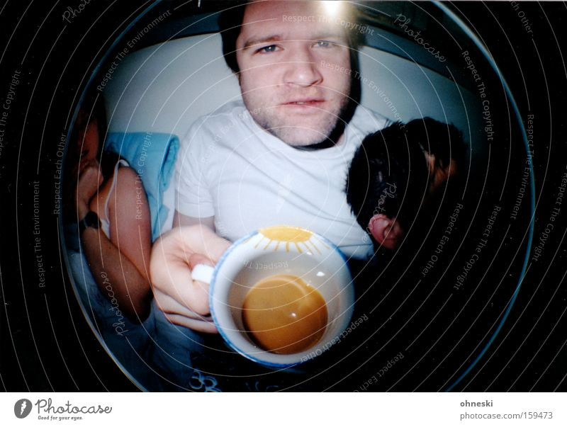 Monkey? Coffee Cup Man Bed Breakfast Hung-over Sun Fisheye Lomography Drinking