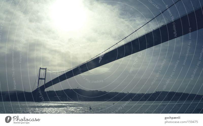 Istanbul: the longer the better Bridge Length Far-off places Connection Sky Clouds Steel Water River Landscape Vantage point Blue