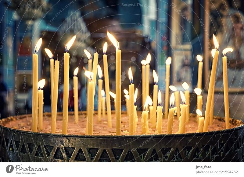 candles Church Candle Belief Religion and faith Trust Jordan Orthodoxy Colour photo Interior shot Detail Light Central perspective