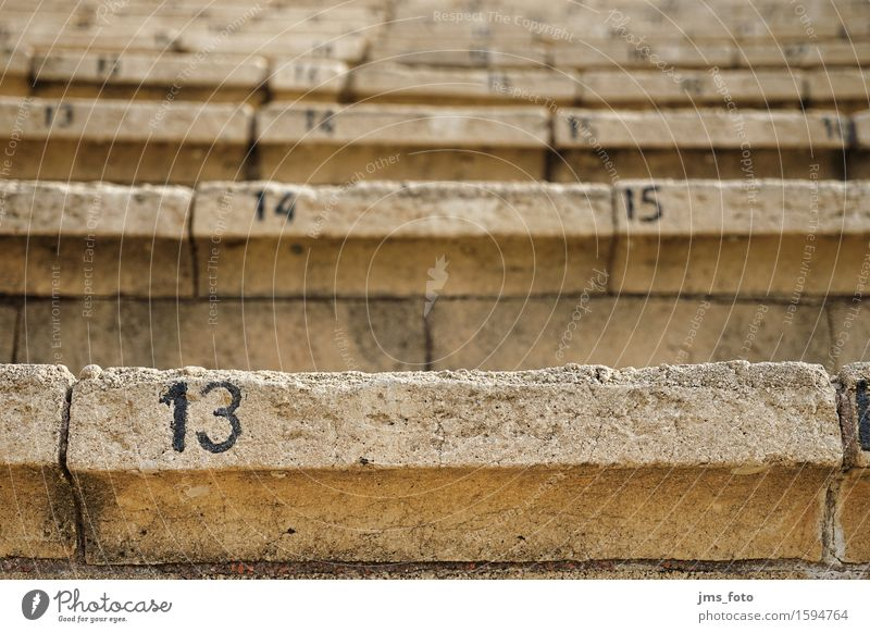 Thirteen Place number Event Stage play Amphitheatre Stairs Stone Digits and numbers Decline Transience Israel Colour photo Exterior shot Detail Deserted